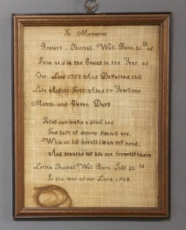 Memorial sampler of Robert Thomas, born 21 of June 1762