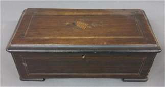 Small Swiss music box with sixinch comb late 19th