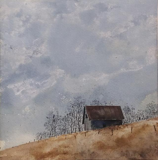 Unframed watercolor of a barn signed lower right