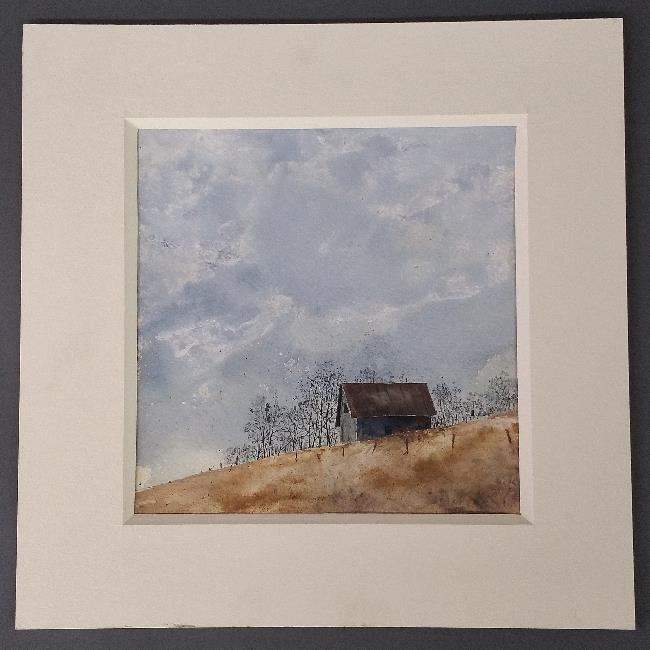 Unframed watercolor of a barn signed lower right - 2
