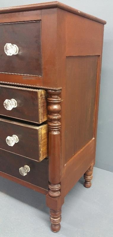 Empire mahogany chest of drawers with glass knobs and - 2