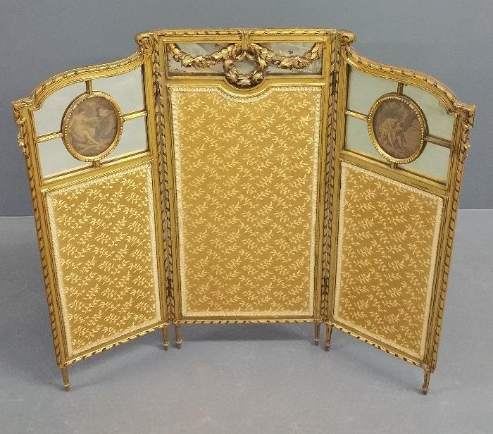 French three-panel gilded framed with glass and fabric