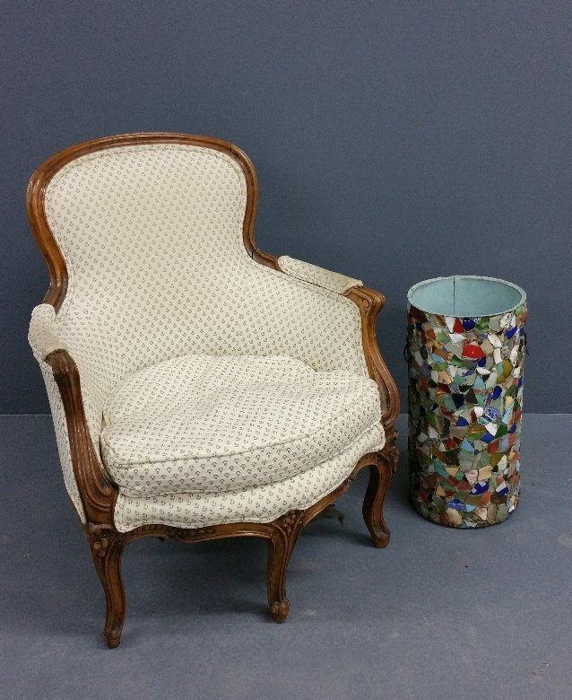 French walnut Louis XVI style carved armchair together