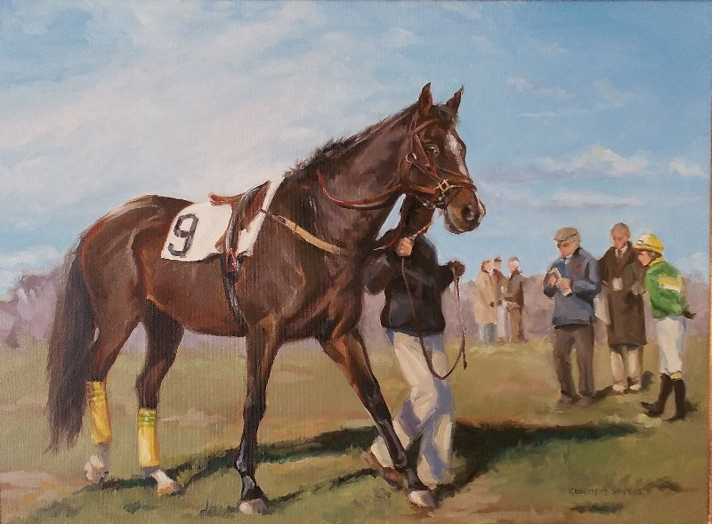 Oil on canvas equine racing portrait signed lower right