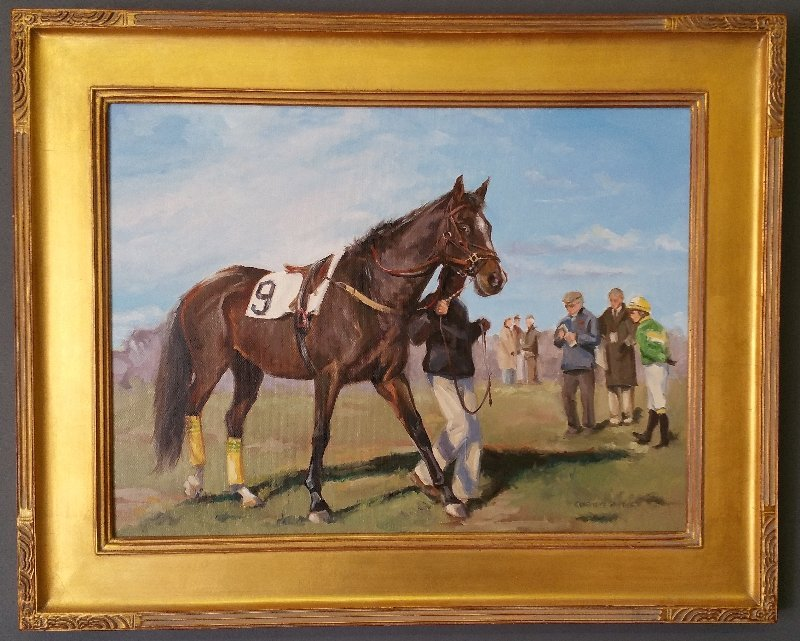 Oil on canvas equine racing portrait signed lower right - 2