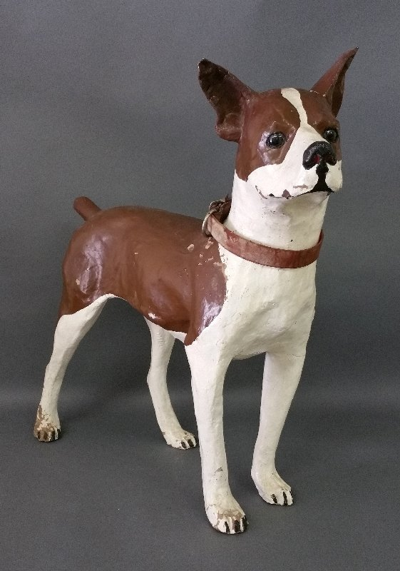 Papier-mâché Craftsman dog collar store display with
