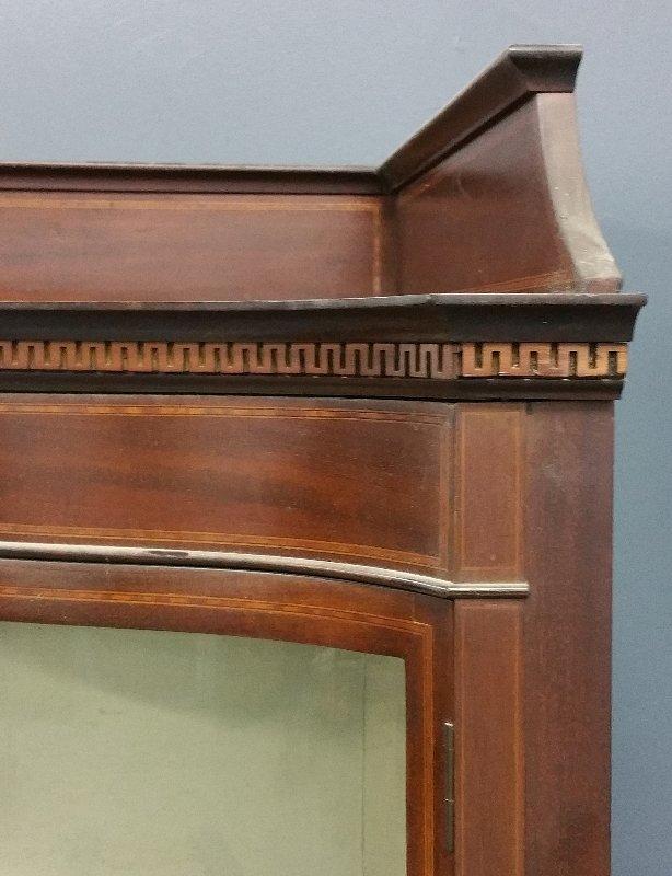 Mahogany inlaid bow-front curio cabinet, circa 1900. - 2