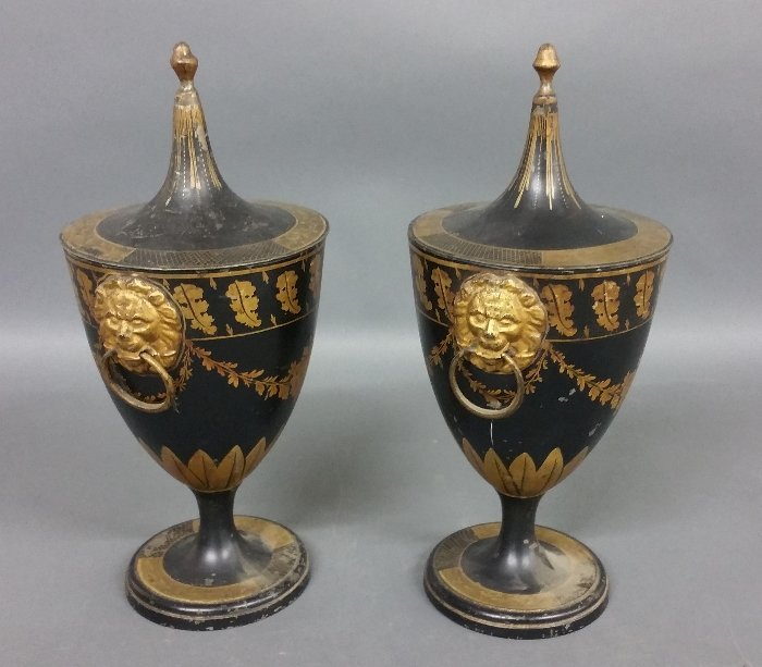 Pair of French pewter toleware covered urns with lion