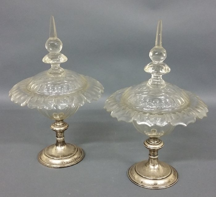 """Pair of English silver and crystal compotes. 15 ¼"""" h x"""