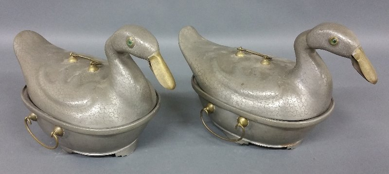 Pair of Chinese pewter duck form covered vegetable