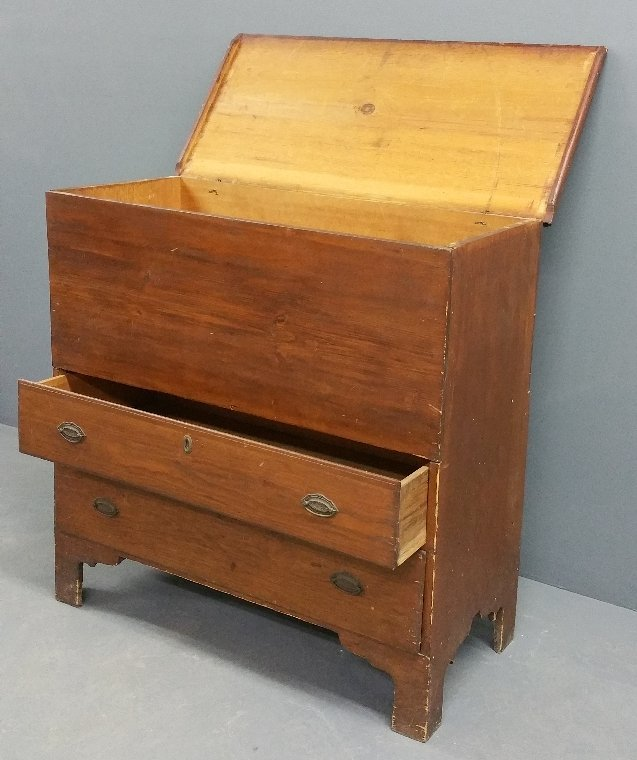 """New England pine mule chest, early 19th century. 39"""" h - 2"""