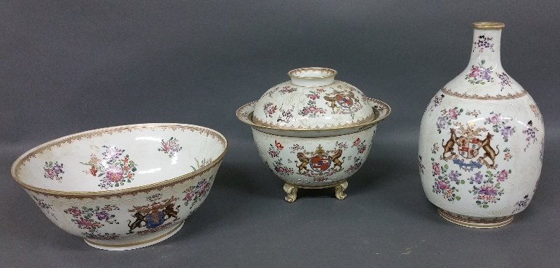 Three French pieces of Samson Armorial porcelain, as