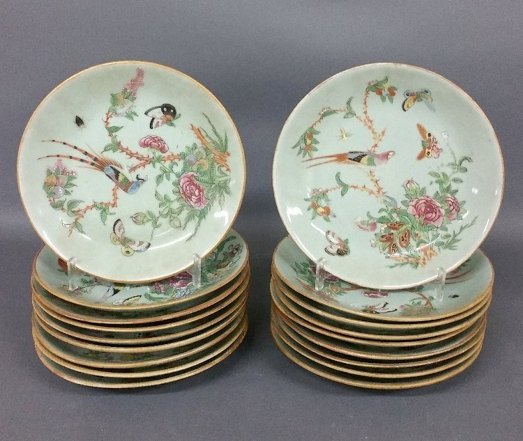 Eighteen Chinese porcelain celadon plates each