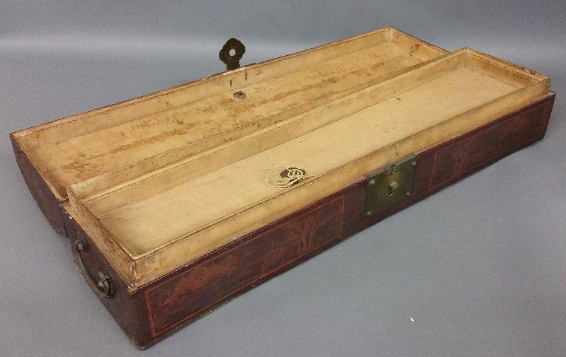 "Chinese leather scroll box, circa 1900. 6 ½"" h x 25 - 2"