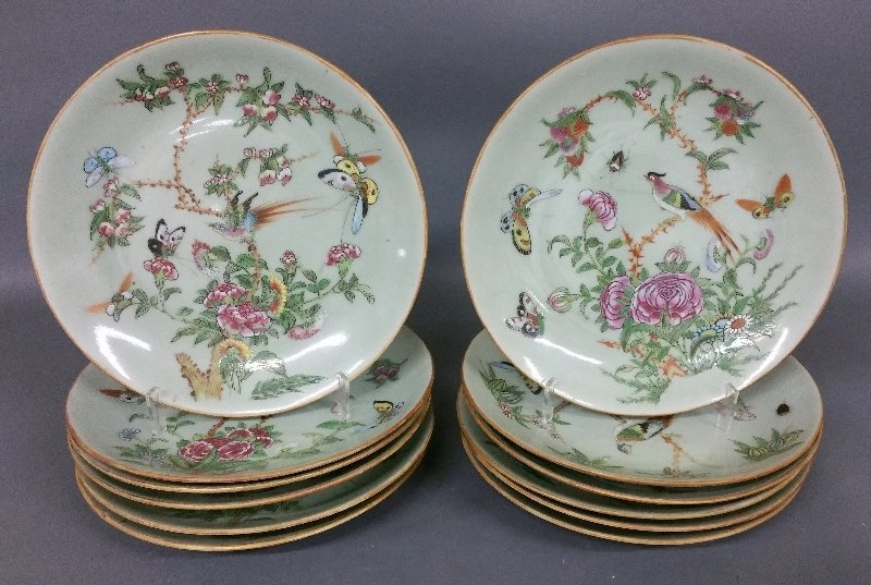 Twelve Chinese celadon porcelain plates, decorated with