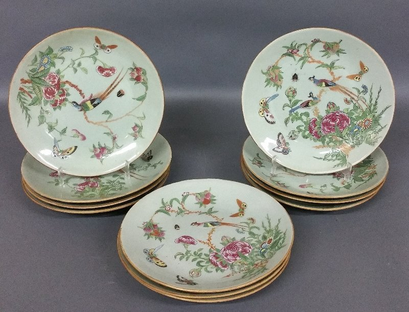 Eleven Chinese celadon porcelain plates each decorated