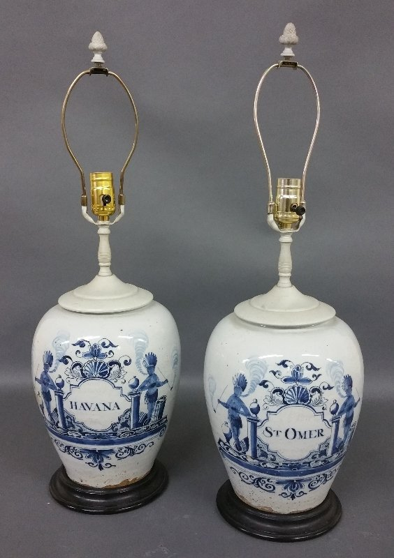 Two Dutch Delft tobacco jars converted to electric