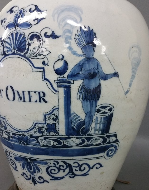 Two Dutch Delft tobacco jars converted to electric - 2