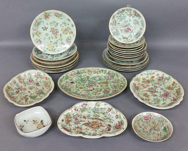 Twenty-six Chinese porcelain celadon plates and trays.
