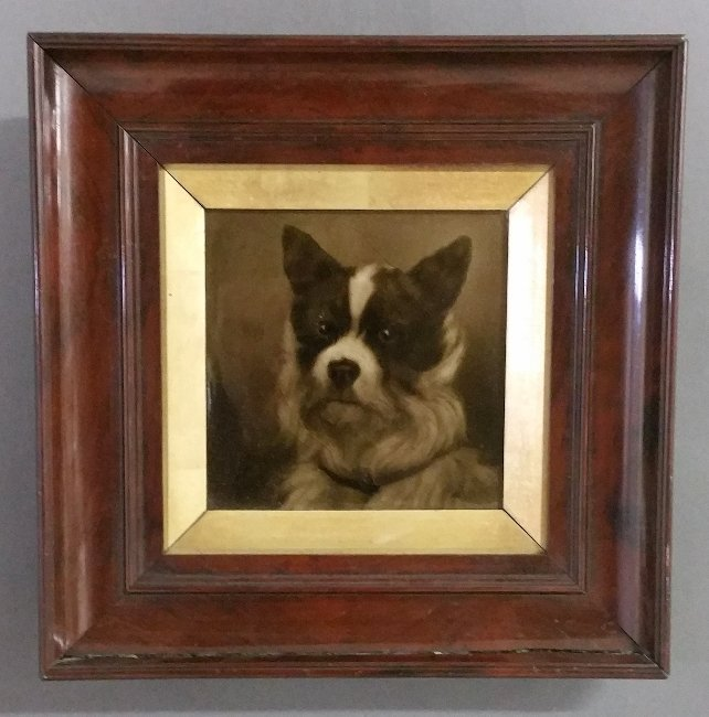Hand painted on English title portrait of a dog in a