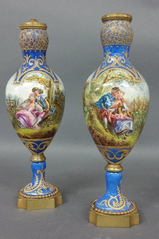 Pair of Sevres porcelain Garnitures, hand painted and