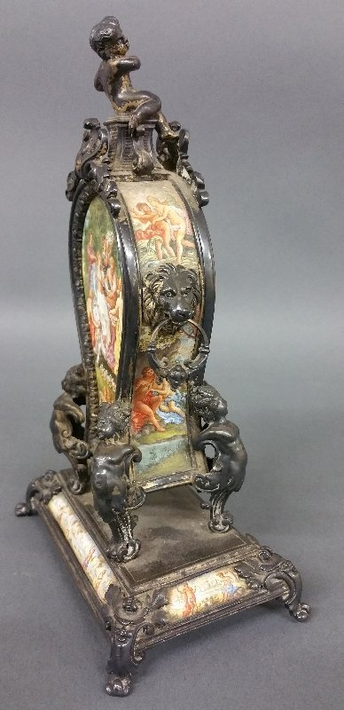 Rare French enameled table clock, the metal work with - 2