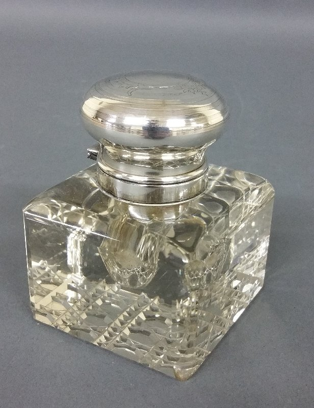 Cut glass and sterling silver inkwell
