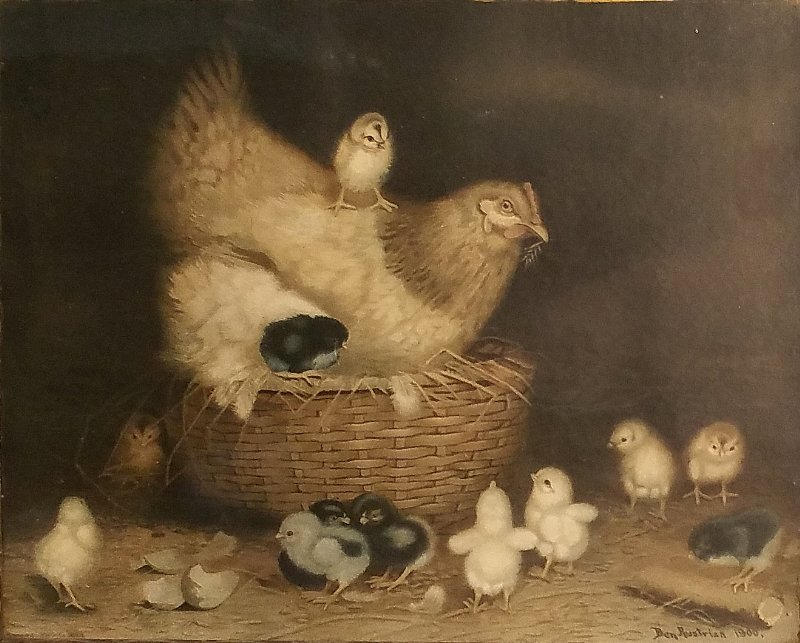 Vintage Ben Austrian lithograph of hen and chicks dated
