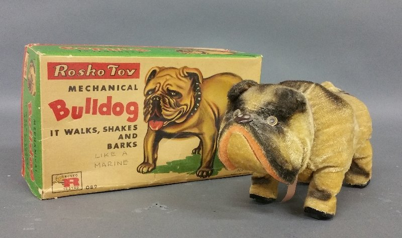 "Rosco toy mechanical bulldog with box. 5"" h x 9 ¼"" l"