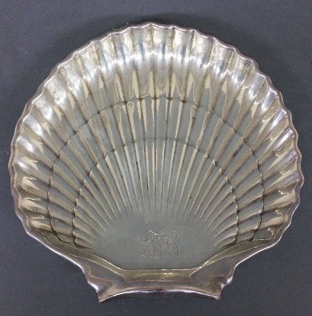 "Sterling silver shell form dish by Gorham. 9 ¼"" x 9"