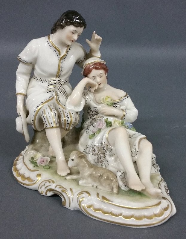 """Porcelain of a couple signed """"Dresden."""" 5 ½"""" h x 6"""" l"""