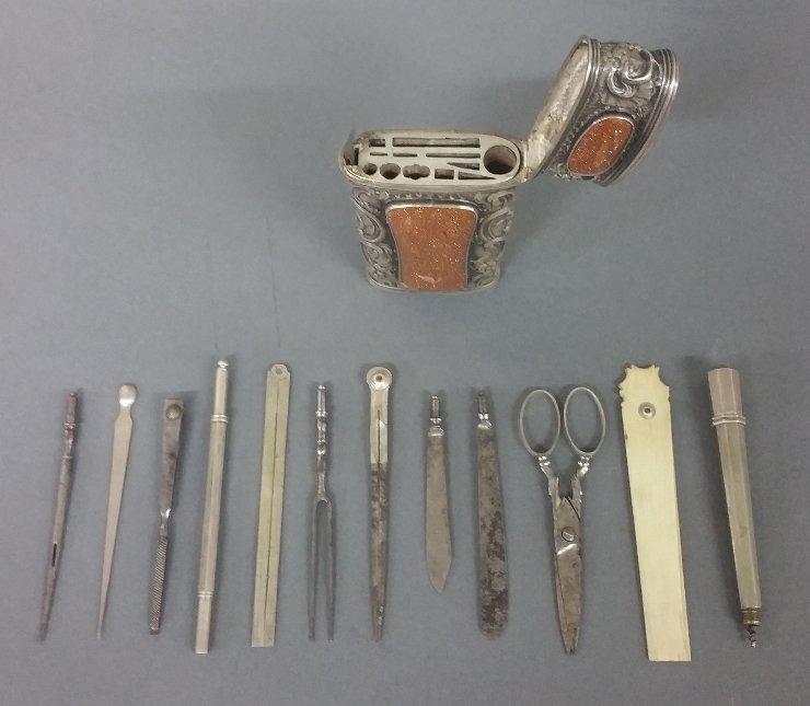 Rare silver etui, 18th century (Necessaire) with - 9