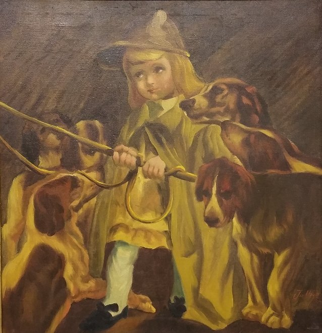 Oil on canvas painting girl with hounds and whip signed