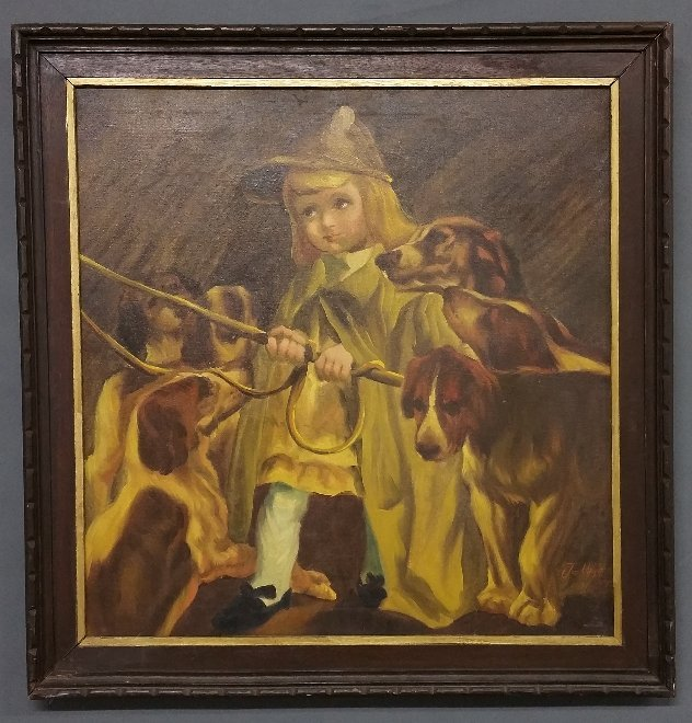 Oil on canvas painting girl with hounds and whip signed - 2