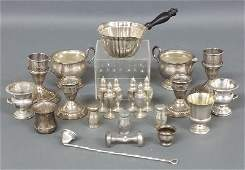 Grouping of sterling silver tableware including