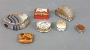 Two agate boxes each with silver hingesrims a