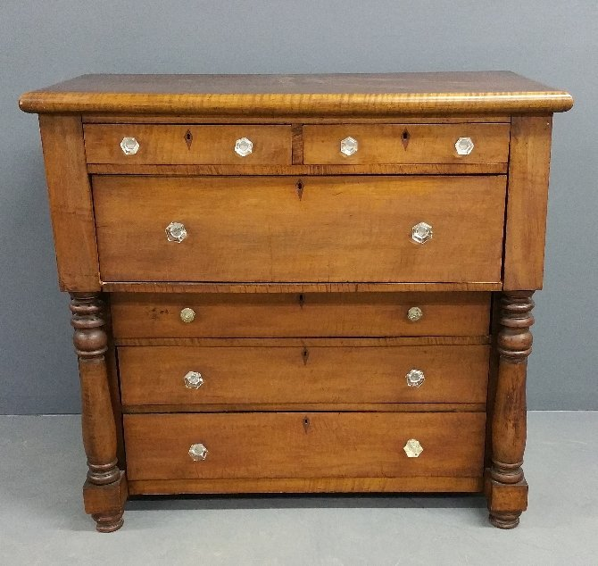 "Empire mahogany/maple chest of drawers. 44"" h x 44"" w"