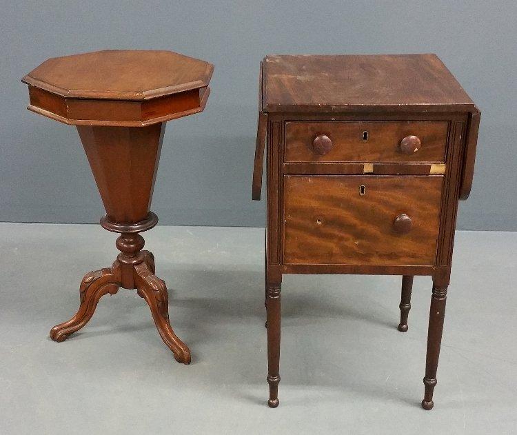 English mahogany octagonal top sewing table, as found,