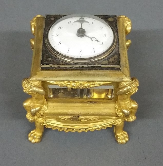 Rare French fire gilt table clock by Julien LeRoy