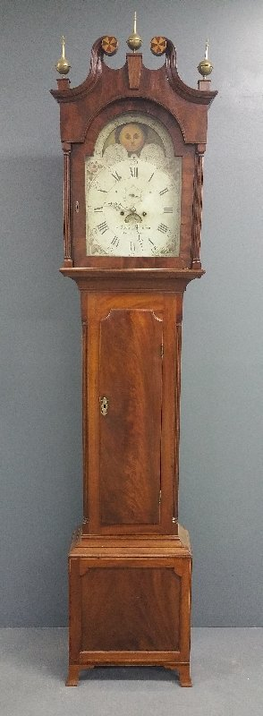 "Pennsylvania Hepplewhite tall case clock signed ""Robert"
