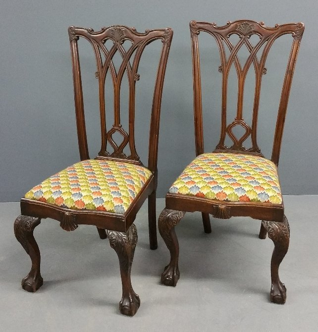 """Two Chippendale style mahogany side chairs. 42"""" h x 20"""""""