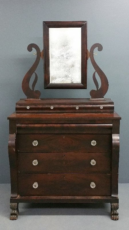 "Empire mahogany chest of drawers. 80"" h x 44"" w x 24"" d"