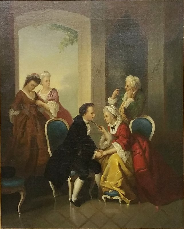 "French oil on canvas painting titled ""The Proposal,"""