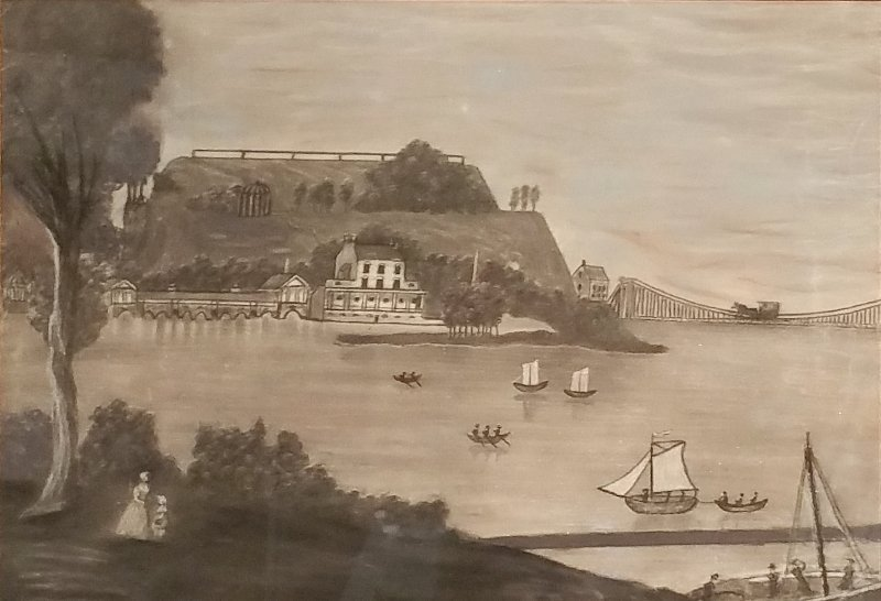 Charcoal of The Philadelphia Waterworks in the 19th