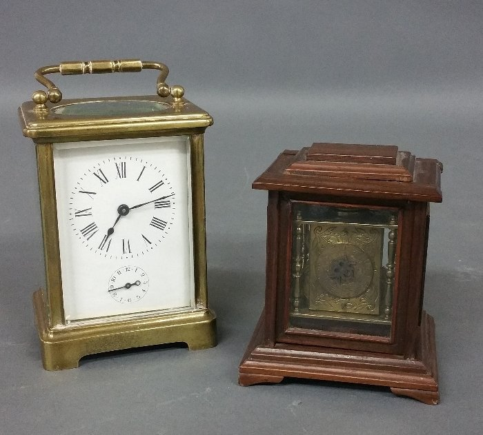 Early miniature brass bracket clock with fuse movement