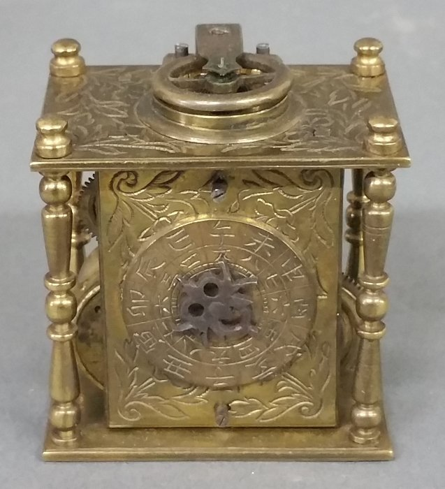 Early miniature brass bracket clock with fuse movement - 3