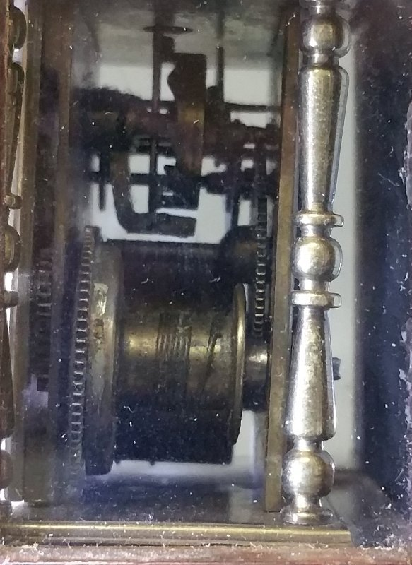 Early miniature brass bracket clock with fuse movement - 4