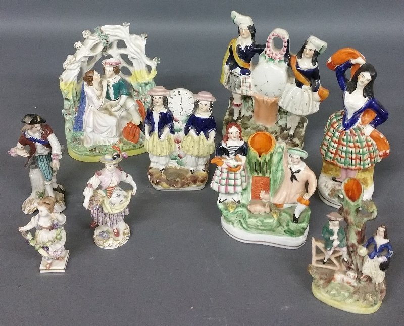 Six pieces of Staffordshire figural groups, and three