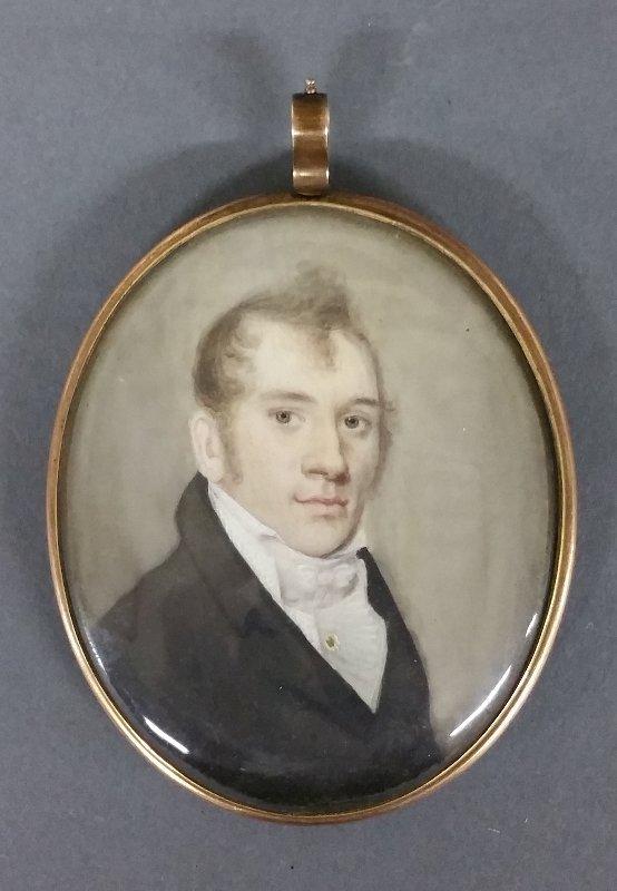American oval miniature portrait of a gentleman, most