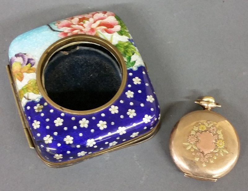 Cloisonné watch holder, and a gold-filled Waltham